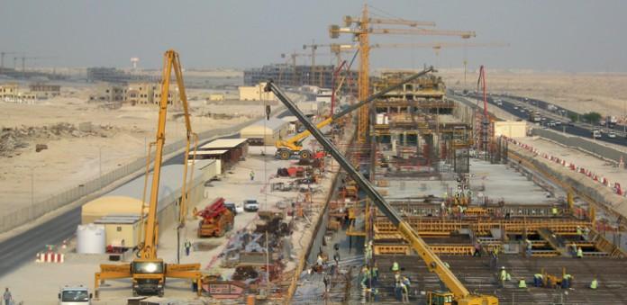 Die Barwa Commercial Avenue in Doha, Katar, während des Baus. Foto: Hochtief