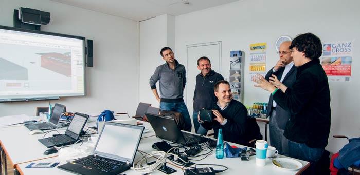 John Myers (ganz rechts) beim Brainstorming mit den Kollegen aus Deutschland, Foto: Ed. Züblin AG