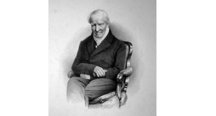 Alexander von Humboldt, Lithographie von Rudolf Hoffmann, 1857, Foto einer Originallithographie der ÖNB (Wien) (Lizenz: Public Domain)