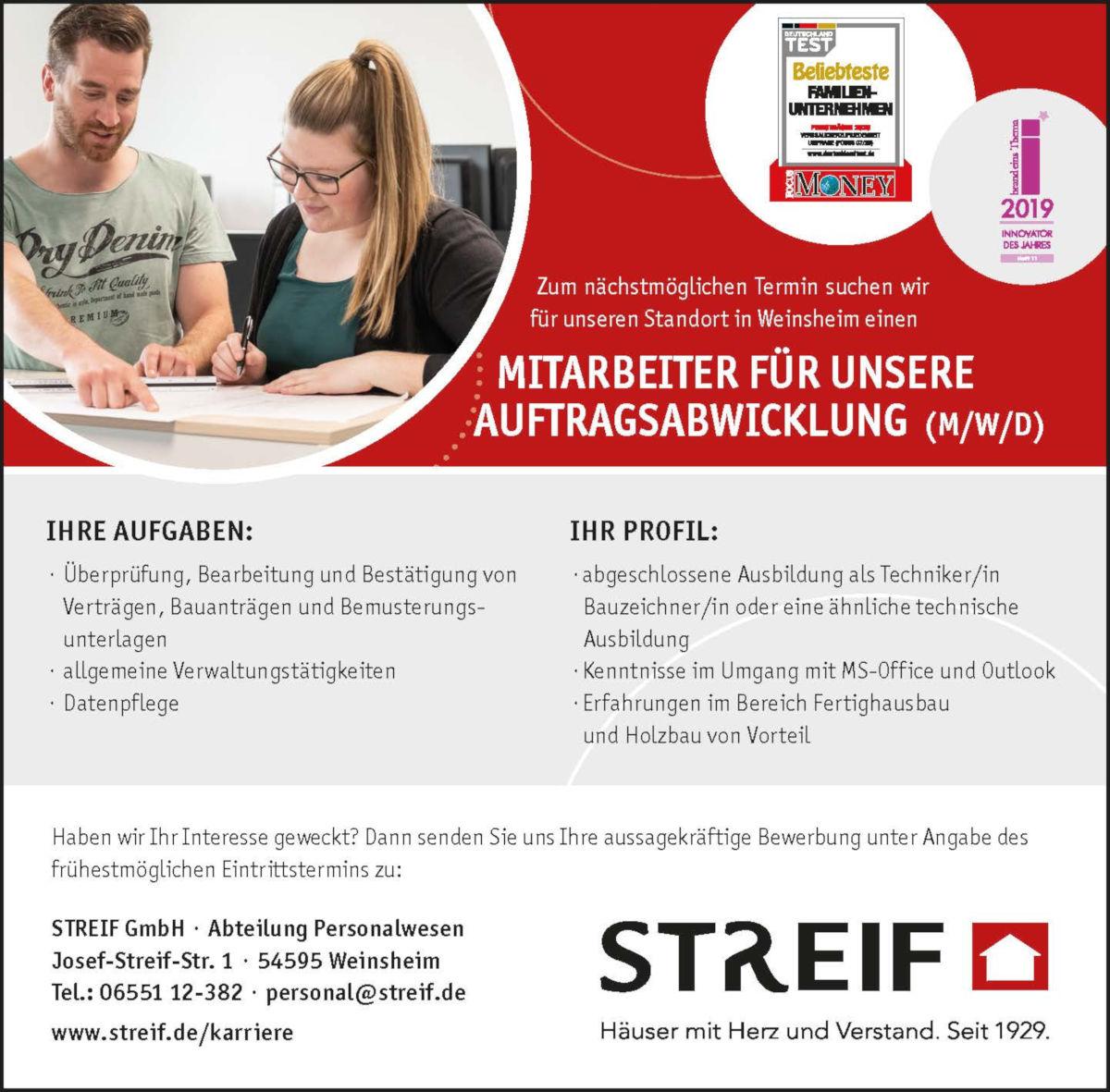 Streif Weinsheim Mitarbeiter Auftragsabwicklung